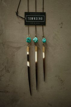 Porcupine Quill and Turquoise Necklace - Ethically harvested quill set in .22 bullet casing on a 32 antique brass chain.