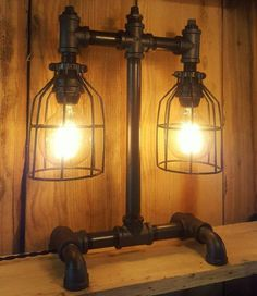 Rustic Industrial Lamp- Table Lamp- Pipe Light- Modern Industrial Desk Lamp- Farm House Lamp- FREE SHIPPING!
