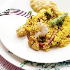 Chicken, asparagus & crayfish paella with almond alioli