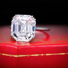 Cartier 8ct. Asscher Cut Diamond Ring : Art Deco Era