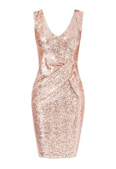 Dazzle this party season in this stunning gold embellished mini dress from Goddiva! Boasting a figure-enhancing silhouette with flirty bow-detail and a low v-neckline that offers a tantalising glimpse of decolletage, this dress is definitely one that will see you through those festive celebrations in effortless style!  V-neckline Champagne hued sequins Bow detail Rear zip fastening Length: 96cm  Team LBD recommends: Don a pair of gold strappy heels and a glam clutch bag to complete your…