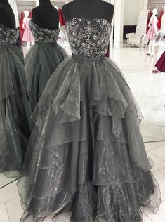 Gray tulle strapless beading long ruffles evening dress, homecoming dress from Sweetheart Dress Grey Evening Dresses, Grey Prom Dress, Strapless Prom Dresses, Elegant Prom Dresses, Long Prom Gowns, Beaded Prom Dress, Black Prom Dresses, Ball Gowns Prom, Mermaid Prom Dresses