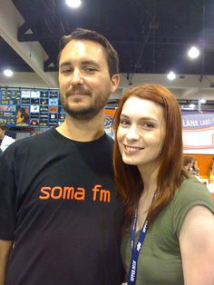 Felicia Day (with cohort WW). Wil Wheaton is so hard to not like even though he tried to ruin ST:NG. Felicia Day, Wil Wheaton, Upper Deck, Geek Culture, World Of Warcraft, Good People, Cute Couples, Star Trek, Actors & Actresses