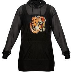 Luna Black Mesh Tiger Applique Oversized Hoodie ($1.58) ❤ liked on Polyvore featuring tops, hoodies, sweatshirt hoodies, hoodie top, oversized hoodies, mesh hoodie and oversized tops