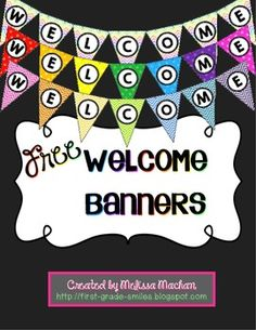 These banners are great to hang up around Back to School time or even better for Open House or Meet the Teacher night.  There are 3 different patterns to choose from.  Just print on card stock, laminate, punch holes, and string them with ribbon or string.