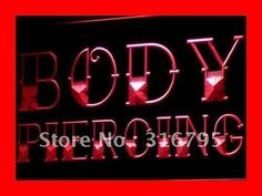i344 Body Piercing Tattoo Shop NEW NR LED Neon Light Sign On/Off Switch 20+ Colors 5 Sizes
