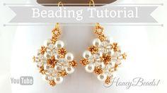 Winterglow Earrings Beading Tutorial by HoneyBeads1 (with pearls)