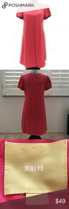 "ANTHROPOLOGIE Maeve coral pink shift dress medium Pit to pit 18.5"" Sleeve 7.5"" Shoulder 15"" Length 34""  Tags: shift dress , lined , fall , spring fashion , 60s retro , bright Anthropologie Dresses Midi"