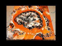Acrylic Pouring Orange & Black - YouTube