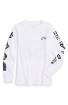 Nike 'Patches' Long Sleeve Graphic T-Shirt (Big Boys)