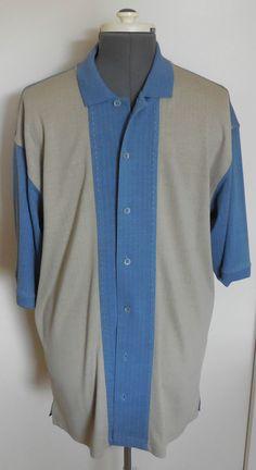 NAT NAST Luxury Originals Camp Shirt Stitching Blue Tan Silk Cotton Sz Large…