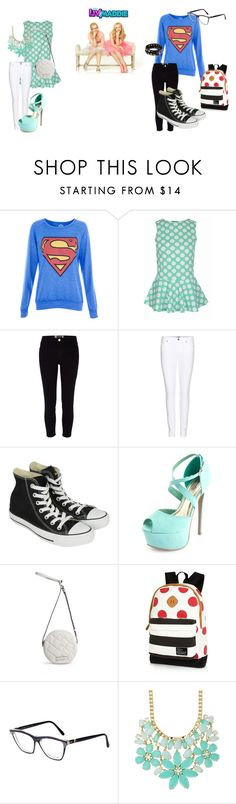 """""""liv and maddie"""" by lily-is-that-so ❤ liked on Polyvore featuring Pull&Bear, River Island, Paige Denim, Converse, Charlotte Russe, Marc by Marc Jacobs, Yves Saint Laurent, Kate Spade and Replay"""