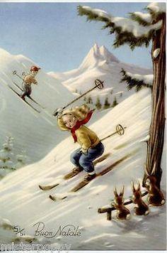 SPORT Bambina Sciatrice Sci Paesaggio di Neve Buon Natale PC circa 1940 ITALY