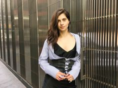 The writer in a corset belt from Prada's FW16 show.