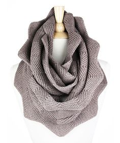 Look at this TROO Taupe Zigzag Knit Infinity Scarf on #zulily today!
