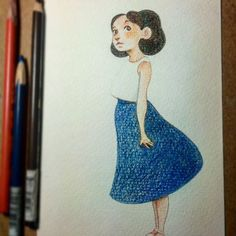 Color version of yesterday's doodle. I'm making little greeting card-size illustrations out of these that will eventually go to my Etsy :)  .  .  .  #illustration #drawing #pencil #sketch #sketchbook #artoftheday #instaart #instaartist #instagood #art  #artist #draw #drawingoftheday #gesture #girl #dress #artwork #illustrationart #blue #skirt #cute #pretty #portrait #satisfying #fashion #beautiful #vancouver #characterdesign #character #drawingaday