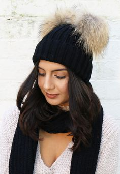 Double Pom Pom Ribbed Knitted Beanie Hat in Black with Natural Fur - One Nation Clothing - One Nation Clothing - 1