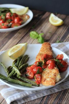 Dinner in 20 minutes that is healthy & fresh! Panko Crusted Tilapia with Burst Cherry Tomato Basil Sauce | joyfulhealthyeats.com #recipes