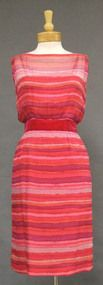 Howard Greer Striped Silk 1960's Cocktail Dress