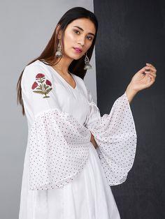 White Cotton Polka Printed Angrakha Kurta