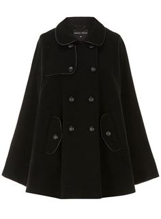 Black leather look piped cape - Jackets & Coats  - Clothing