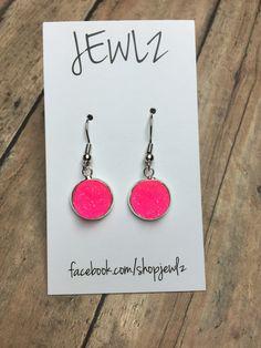 12mm Hot Pink Dangle Earrings in Silver