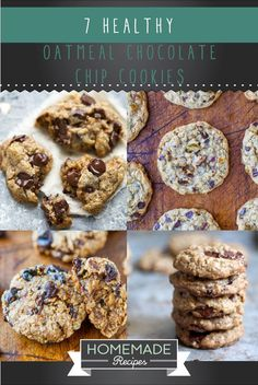 Healthy Oatmeal Chocolate Chip Cookies - 7 Recipes You Need    Nutritious And Delicious Snacks by Homemade Recipes at http://homemaderecipes.com/healthy/healthy-oatmeal-chocolate-chip-cookies/