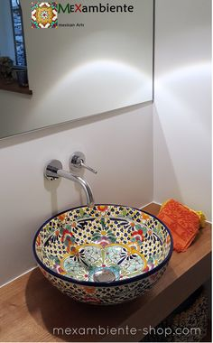 "great guest bathroom with a hand-painted Mexican washbasin by Mexambiente ""Caribe"" wooden washbasin # guest toilet The post great guest bathroom with a hand painted wash basin … appeared first on Best Pins for Yours - Bathroom Decoration Rustic Bathroom Vanities, Bathroom Furniture, Small Bathroom, Bathroom Ideas, Bathroom Sinks, Bad Inspiration, Bathroom Inspiration, Craftsman Bathroom, Guest Toilet"