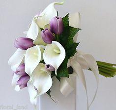 LATEX WHITE CALLA LILY PURPLE TULIP WEDDING BOUQUET  POSY FLOWER SILK FLOWERS Calla Lily Bridal Bouquet, Tulip Bouquet, Wedding Bouquets, Posy Flower, Silk Flowers, Tulip Wedding, Wedding Flowers, Purple Tulips, Latex