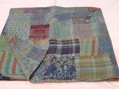 Indian Kantha Quilt Floral Patchwork Queen Size Bedspread Cotton Throw Blanket #Handmade