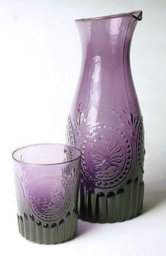 amethyst glass carafe & tumblers