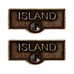 2 Switchplate Tag Antique Solid Brass Island ISLAND Switch Tag Antique B
