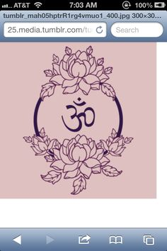 Om + lotus tattoo. Love the outline look.