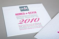Magenta + Charcoal Embossed Lovebirds Invites - Paper Crave