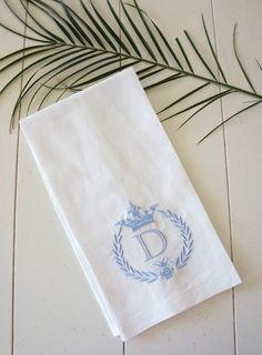 Bee & Crown One monogrammed linen towels by DonovanDesignLinens