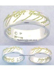 Sterling Silver The One Ring Yellow Script - Lord of the Rings