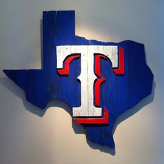 Wooden State of Texas with Rangers logo by CampgroundProduction … Texas Rangers Logo, Tx Rangers, Rangers Baseball, Texas Longhorns Baseball, Texas Logo, Rangers Game, Dallas Sports, Texas Crafts, Pallet Art