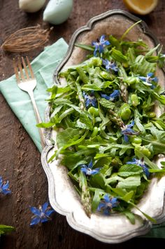 Spring Herb Salad with Fava Beans,Young Asparagus, Fresh Mint and Borage Flowers