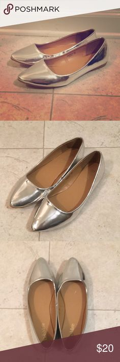 BellaMarie silver flats Super cute and light shoes sz8. Pointy silver flats. Worn 1 time. No scuffs or marks Shoes Flats & Loafers