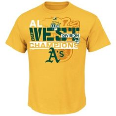 Majestic Oakland Athletics 2013 AL West Division Champions All For Glory T-Shirt - Gold