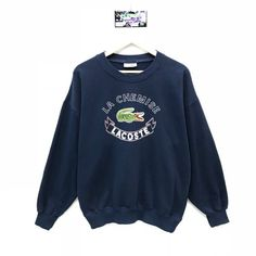 Rare!!! Vintage Lacoste Sweatshirt Chemise Lacoste Big Logo Spell Out Embroidery Pullover Jumper Swe