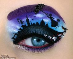 makeup art Mastering a simple winged eyeliner can be hard enough. But Israeli make-up artist Tal Peleg can draw intricate artworks atop her eyelids - drawing inspiration from your favourite Disney Eye Makeup, Eye Makeup Art, Eye Makeup Tips, Eye Art, Makeup Eyebrows, Fairy Makeup, Mermaid Makeup, Movie Makeup, Contouring Makeup