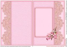 Cherry Blossom Lace Border A5 Matching Insert  on Craftsuprint designed by Sandie Burchell - Beautiful A5 Insert. There is also a Matching Decoupage Sheet for this design please see related sheets. To see more of these designs click on my name and type lace border into my search box and sort newest first. Please take a look at my other designs by clicking on my name. - Now available for download!