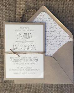 Invitación de boda Chic rústico Simple y elegante por aLukeDesigns