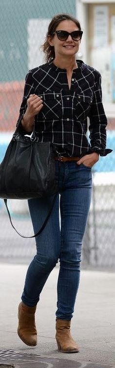 Who made  Katie Holmes' black plaid button down shirt and black leather handbag that she wore in New York?