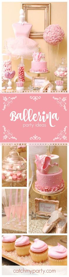 Check out this fabulous Ballerina 1st birthday party! The pink birthday cake with ballet shoes on top is just so gorgeous! See more party ideas at CatchMyParty.com #birthdaycakes
