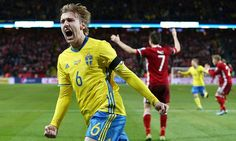 Nov. 14th. 2015: Sweden's Emil Forsberg delighted after scoring the first goal of the Euro 2016 qualifying play off match against Denmark