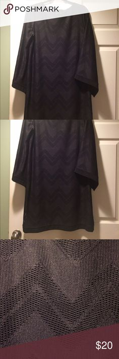 Large Like New Black chevron patterned dress Like New Large black chevron patterned dress with bell sleeves. Never been worn Dresses Long Sleeve