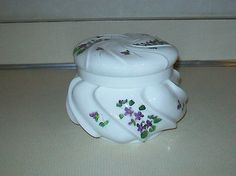 FENTON VIOLETS IN THE SNOW PUFF BOX WAVECREST POWDER VANITY DRESSER JAR HTF RARE