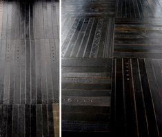 Leather rugs and tiles made from old belts. Different.